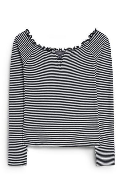 Black And White Stripe Bardot Top