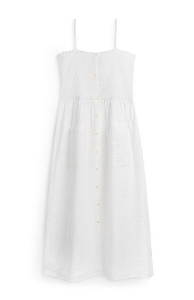 White Shirred Top Strappy Midi Dress
