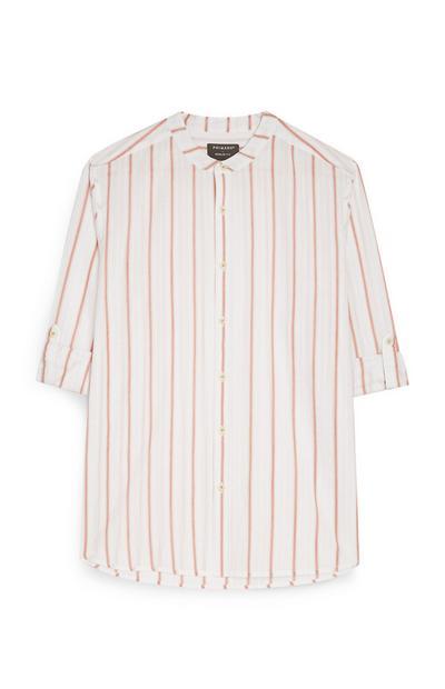 Terracotta Stripe Long Sleeve Button Up Shirt