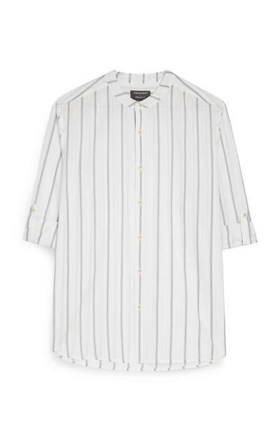 Langarmhemd mit Knopfleiste und khakifarbenen Streifen