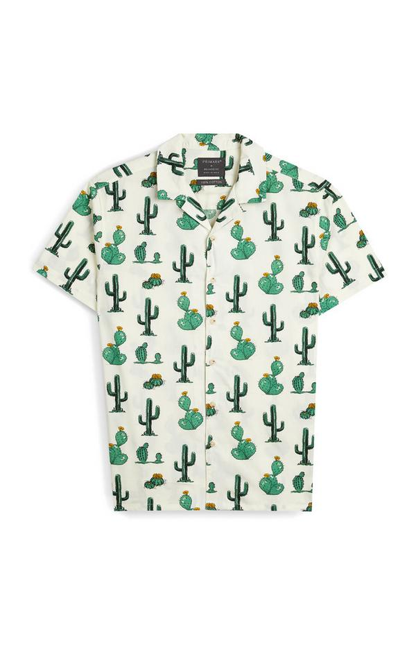 Ivory Cactus Print Long Sleeve Shirt