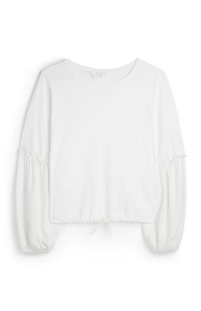Wit shirt met trekkoord