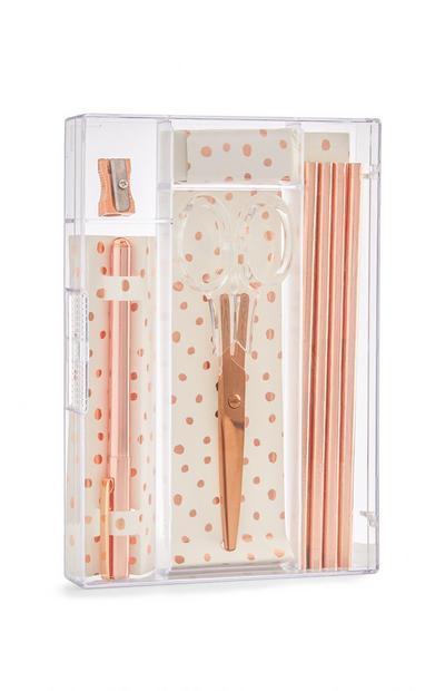 Bureauspullenset roze, goudkleurig en met rozenprint, 5 st.
