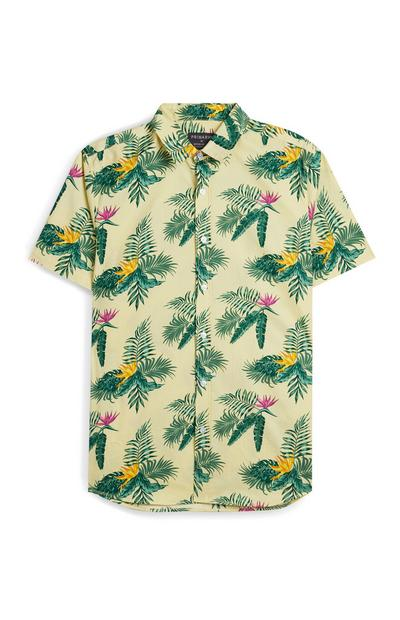 Yellow Leaf Print Short Sleeve Shirt