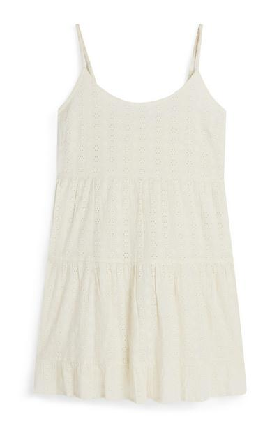 Ecru Strappy Tiered Eyelet Mini Dress