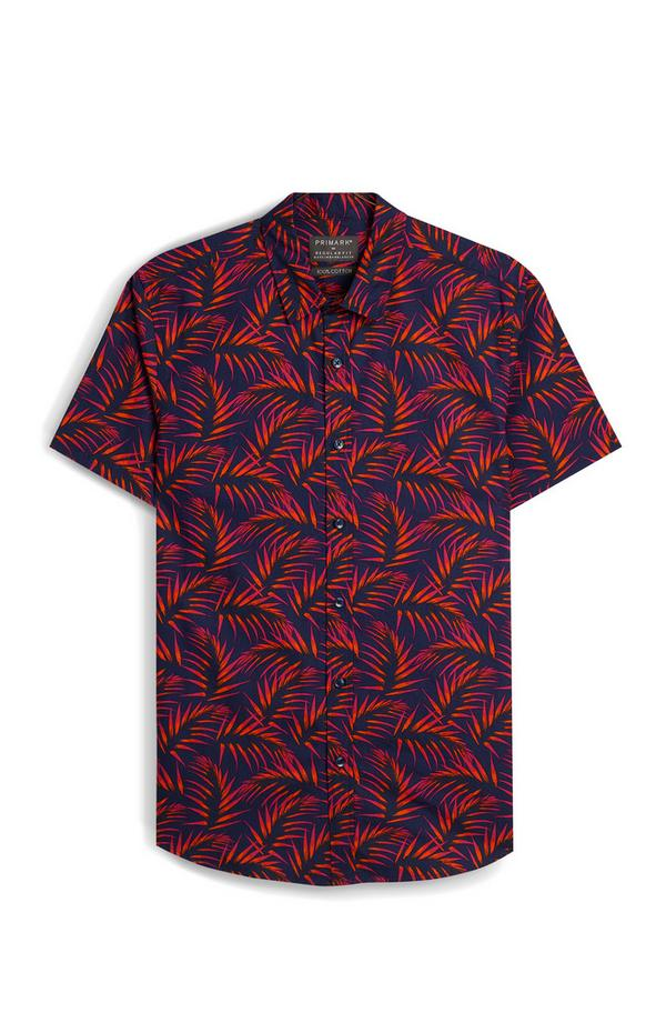Navy And Red Floral Short Sleeve Shirt