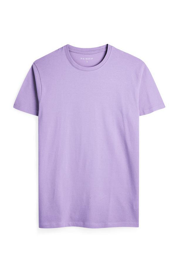 Lilafarbenes T-Shirt mit Rundhalsausschnitt