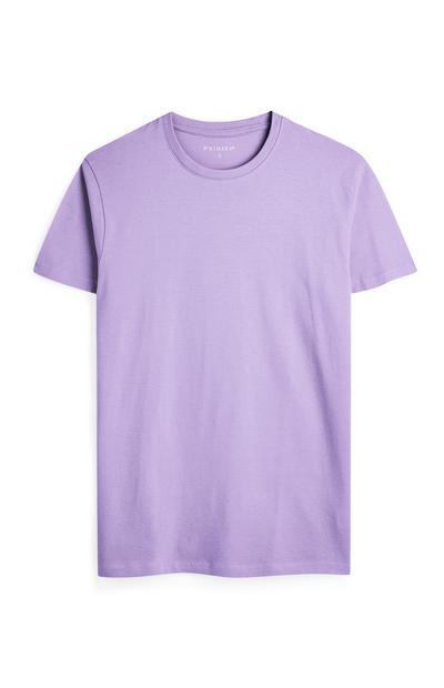 Lila T-shirt met korte mouwen en ronde hals