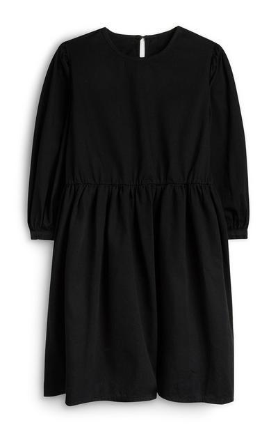 Schwarzes Kleid mit Puffärmeln