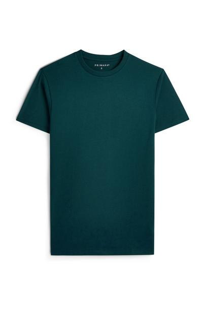 Teal Round Neck Short Sleeve T-Shirt