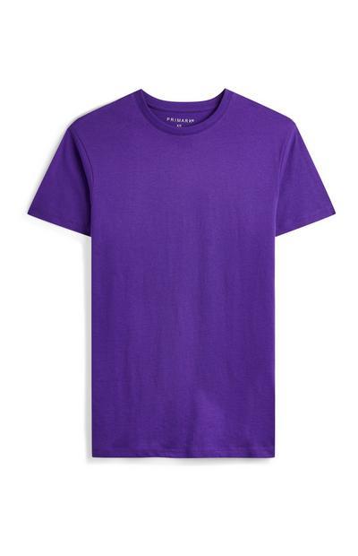 T-shirt violet à col rond et manches courtes