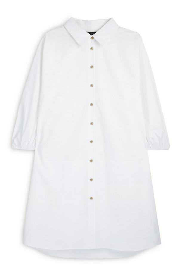 White Oversized Button Up Poplin Shirt Dress