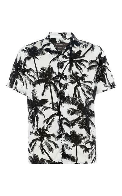 Chemise à manches courtes en viscose avec imprimé palmiers