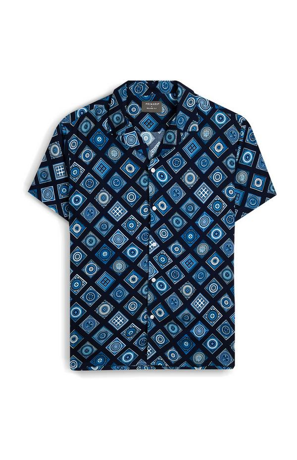 Blue Tile Print Short Sleeve T-Shirt