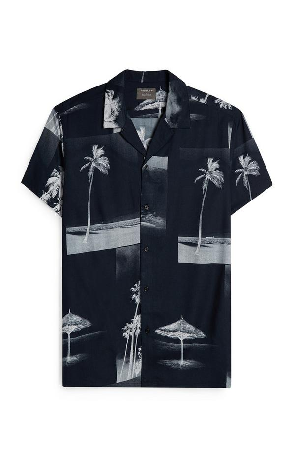 Black Palm Print Photo Shirt