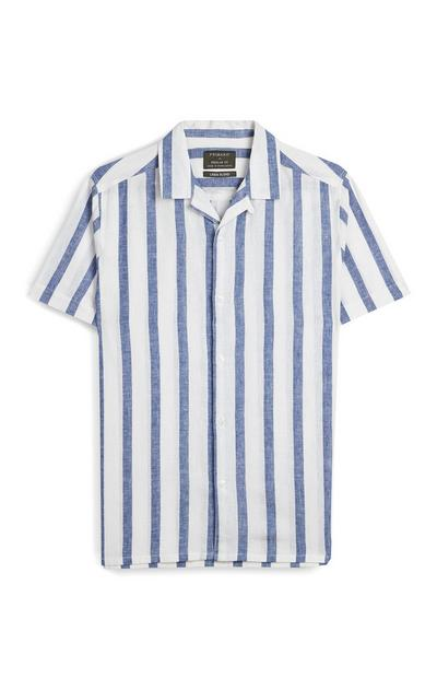 White And Blue Striped Short Sleeve Shirt