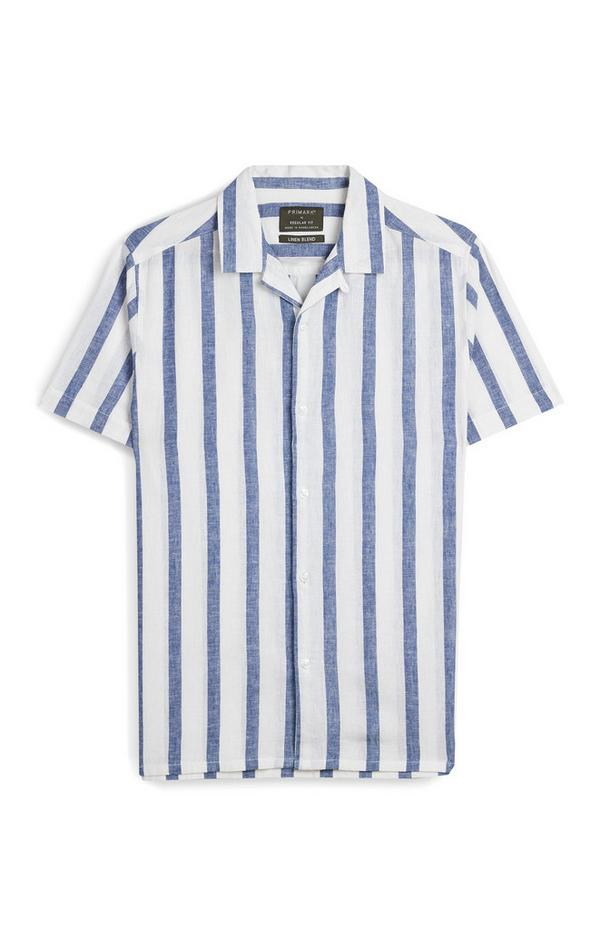 White And Blue Striped Short Sleeve T-Shirt