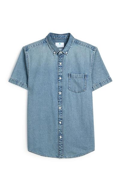 T-shirt in denim a maniche corte con bottoni