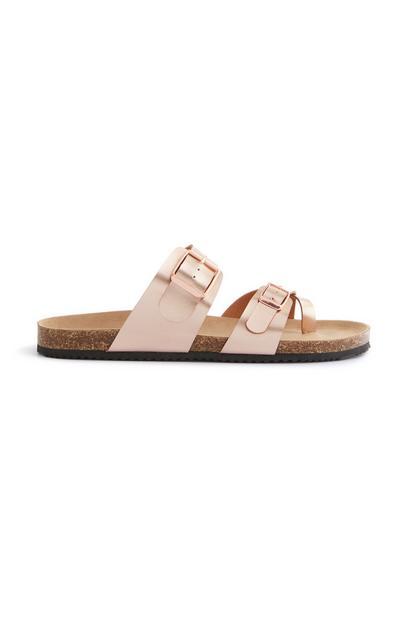 Sandálias rasas alça dedo rosa-pálido