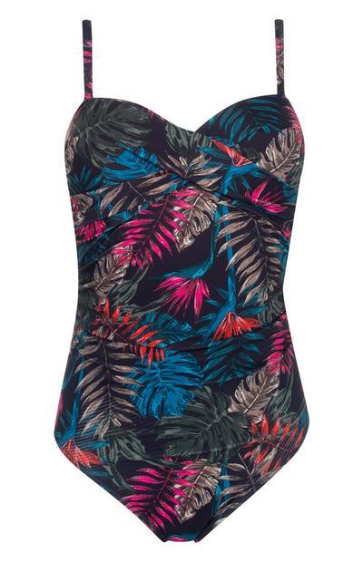 Cobalt Floral Print Control Twist Swimsuit