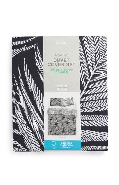 Black And White Palm Print Double Duvet Cover Set