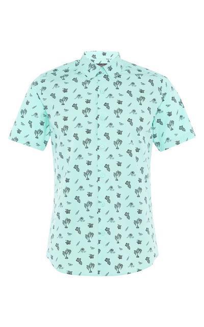 Mintgrünes Hemd mit Knopfleiste und Palmenmuster