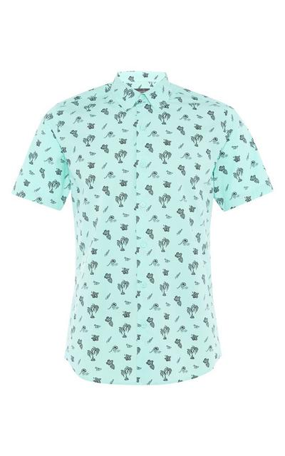 Mint Green Palm Print Button Up Shirt