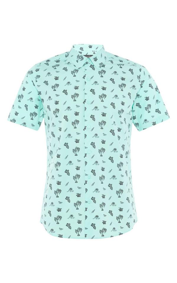 Mint Green Palm Print Shirt