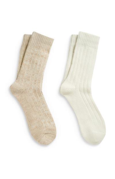 Cremefarbene, luxuriöse Socken, 2er-Pack