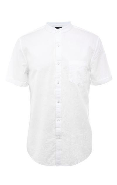White Seersucker Mandarin Collar Short Sleeve Shirt
