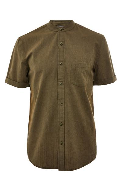 Khaki Seersucker Mandarin Collar Short Sleeve T-Shirt