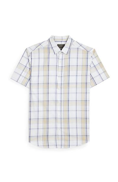 White And Yellow Stripe Short Sleeve Shirt