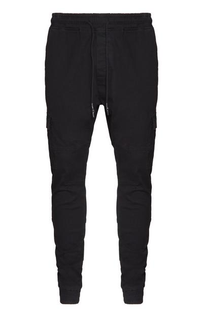 Schwarze Stretch-Chinohose
