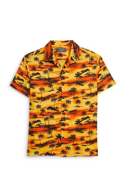Yellow And Orange Sunset Palm Print Shirt