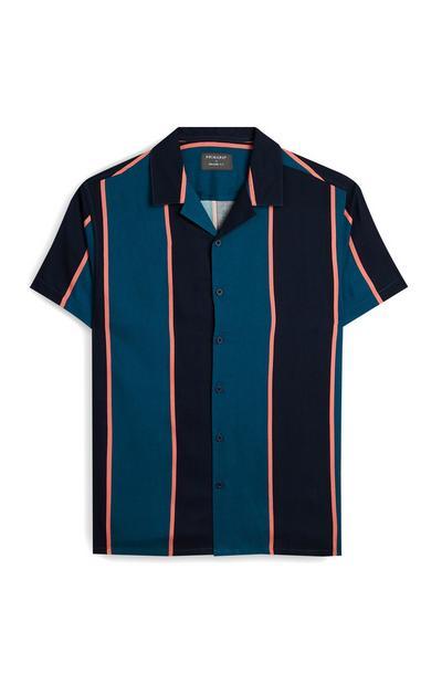 Chemise bleu sarcelle rayée à manches courtes