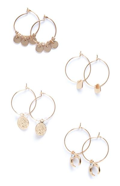 4-Pack Delicate Charm Hoop Earrings
