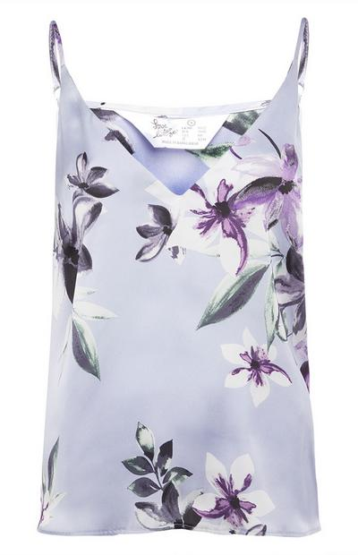 Blue Satin Floral Pattern Cami