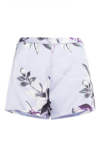 Blue Satin Floral Pattern Shorts