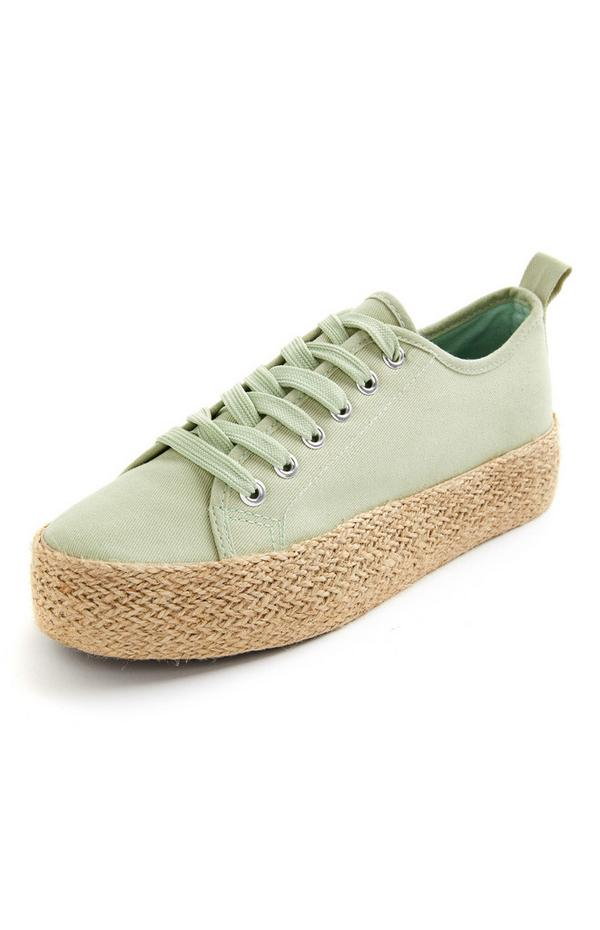 Khaki Flatform Jute Lace Up Sneakers
