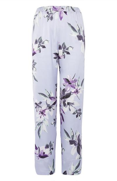 Blue Satin Floral Pants