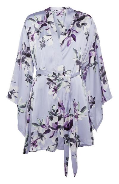 Blue Satin Floral Pattern Robe