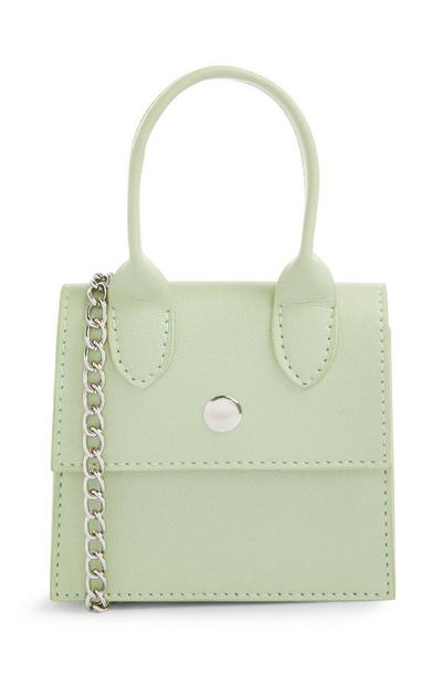 Green Micro Bag With Chain Strap
