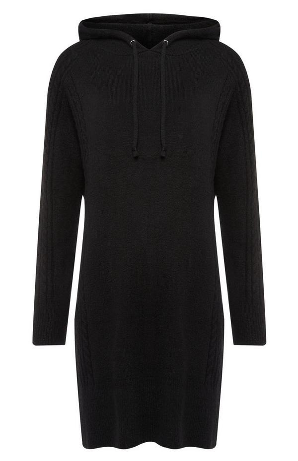 Robe en maille noire à capuche