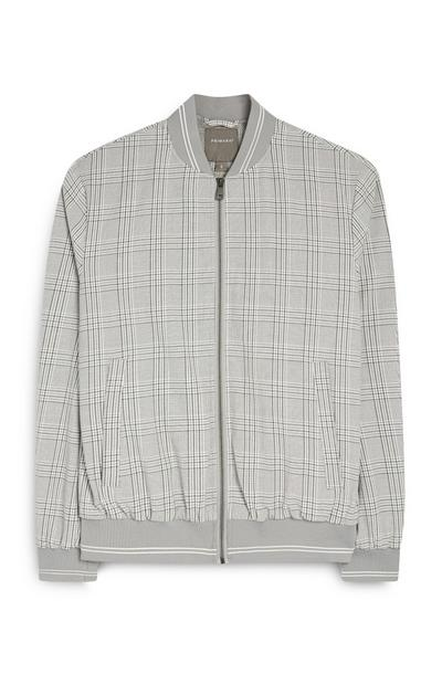 Kem Cetinay Gray Check Zip Bomber Jacket