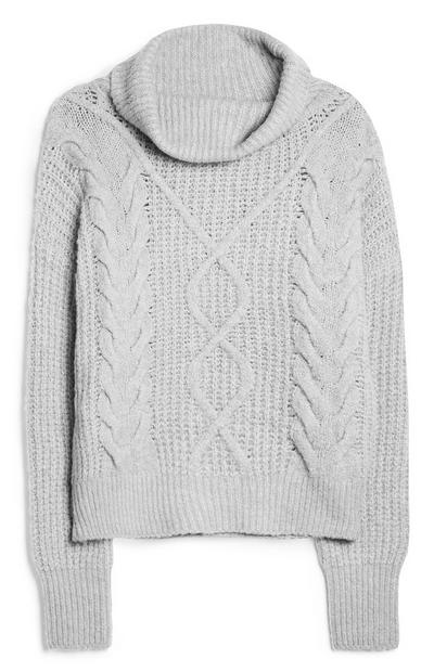 Grey Oversized Cable Knit Jumper