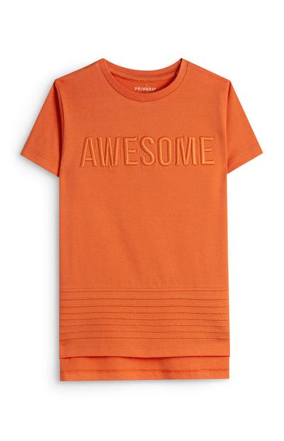 Younger Boy Orange Embossed Awesome T-Shirt