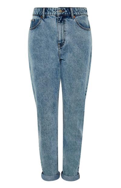 Calças ganga estilo Mom cintura elástica azul