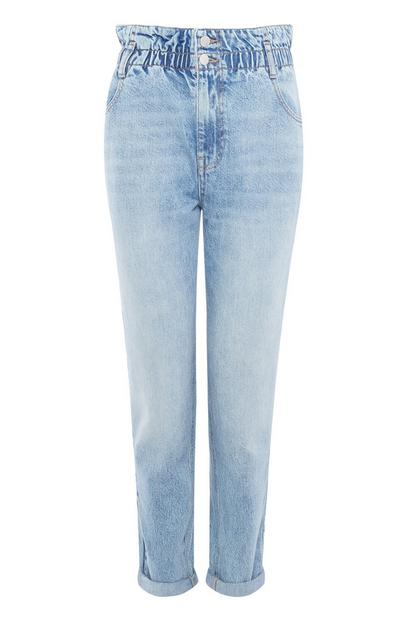 Blue Denim Elasticated Waist Mom Jeans
