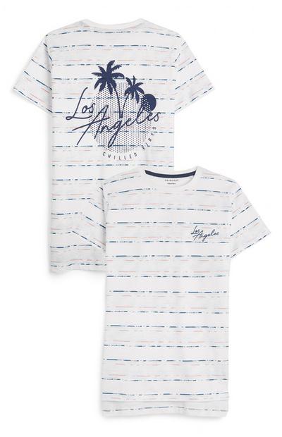 Older Boy White Striped LA T-Shirt