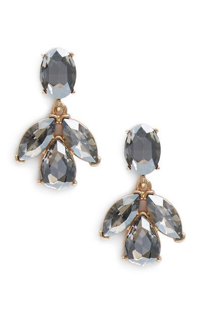 Gray Stone Leaf Drop earrings